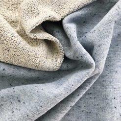 French Terry grobe Schlaufenoptik Graublau meliert mit Sprenkeln