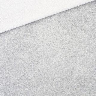 Leichter Baumwollfleece Hellgrau meliert