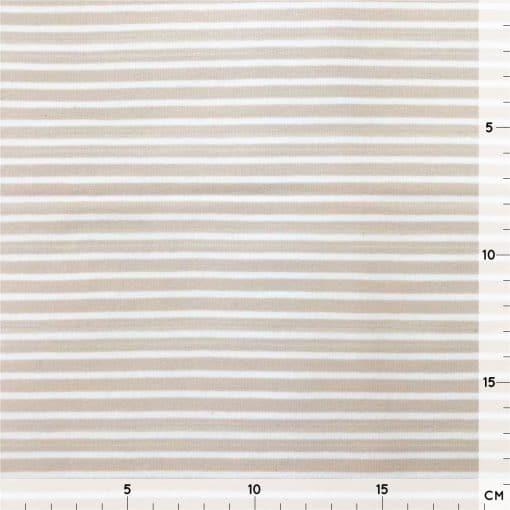Single Jersey - Beige mit 2 mm weißen Streifen