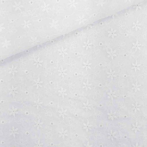Baumwolle mit Lochstickerei 3 - Broderie Anglaise - Weiß