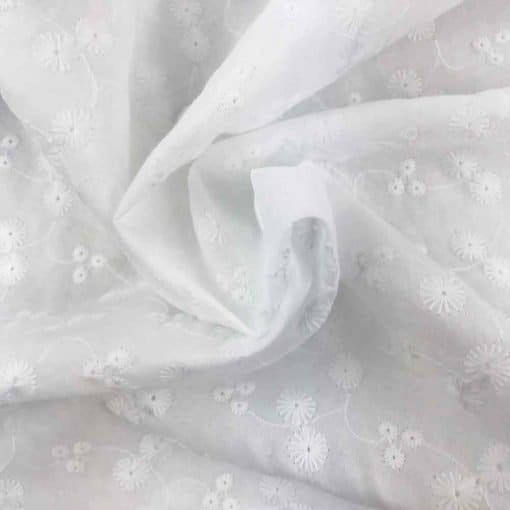 Baumwolle mit Lochstickerei 2 - Broderie Anglaise - Weiß