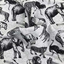 French Terry Melange - Mittelgrau mit wilden Tieren