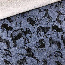 French Terry Melange - Smoky Jeansblau mit wilden Tieren