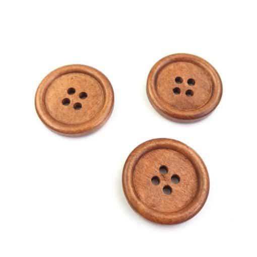 Holzknopf rund mit Rand - 24 mm - Walnussbraun lackiert - 4 Loch
