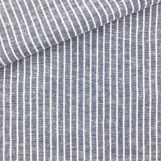 Leinen Viskose - Jeansblau gestreift