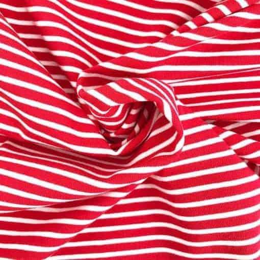 Single Jersey - Rot mit 2 mm weißen Streifen
