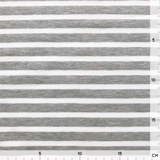 French Terry Melange - Grau mit weißen Streifen