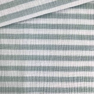 Musselin - Streifen Altmint/Weiß