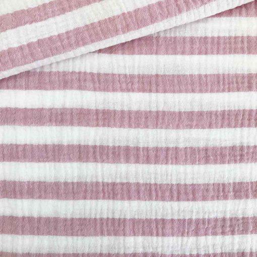 Musselin - Streifen Altrosa/Weiß