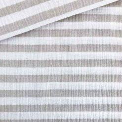 Musselin - Streifen Beige/Weiß