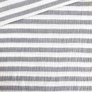 Musselin - Streifen Grau/Weiß