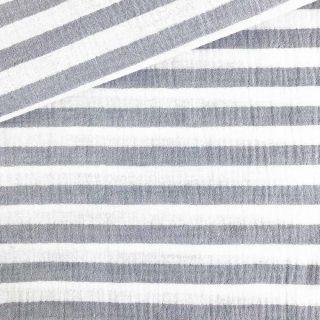 Musselin - Streifen Jeans/Weiß