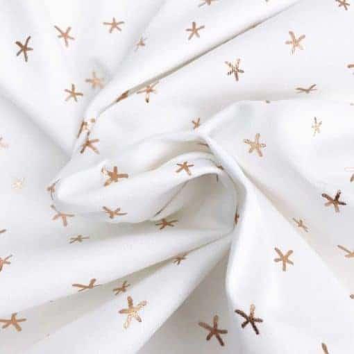 Single Jersey Weiß mit kupferfarbenen Sternen