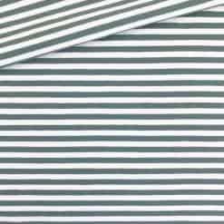 Single Jersey Dunkles Altmint-Weiss 5mm Ringel