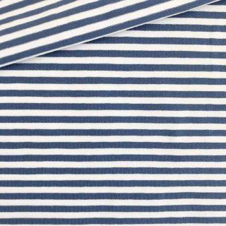Single Jersey Jeansblau-Weiss 5mm Ringel