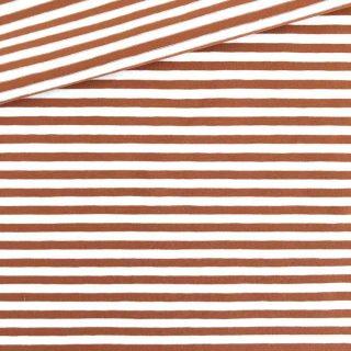 Single Jersey Kupfer-Weiss 5mm Ringel