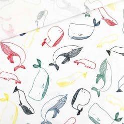 Single Jersey - Weiß mit bunten Walen