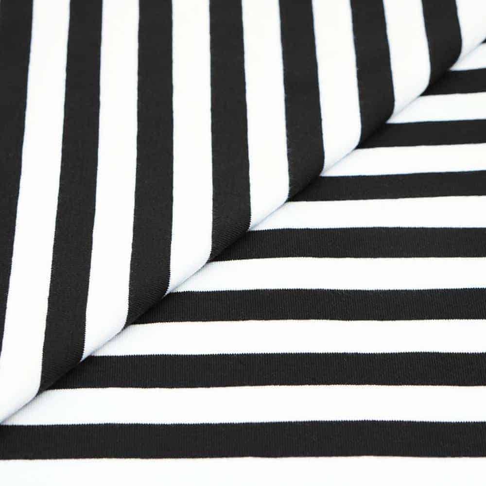 Single Jersey Schwarz Weiß Gestreift