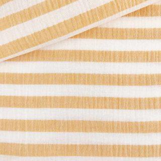 Musselin - Streifen Mango/Weiß