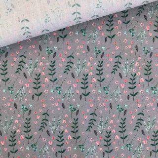 Popeline - Grau Zarte Blumen
