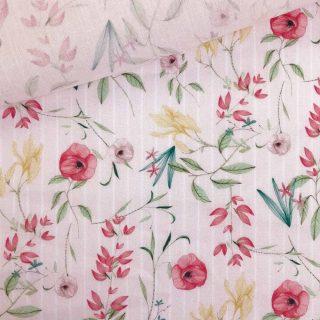 Popeline - Hellrose Frühlingsblumen