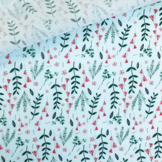 Popeline - Pastellmint Zarte Blumen