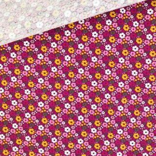 Single Jersey - Fuchsia_Beere - Mini-Blumen