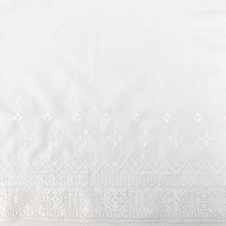 Baumwolle mit Stickerei-Bodüre - Weiß