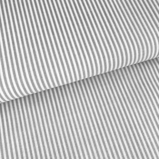 Baumwollstoff mit 3 mm Streifen Grau/ weiß gestreift