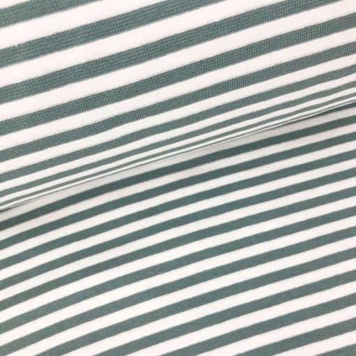 Bündchen - Dunkles Altmint/Weiss 5mm Ringel