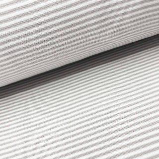 Bündchen - Hellgrau/Weiß 2 mm gestreift