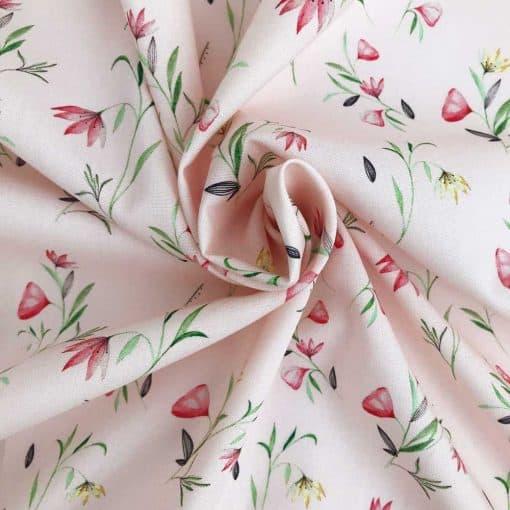 Popeline - Hellrose Blumen
