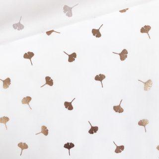 Popeline - Weiß mit kupferfarbenen Blättern