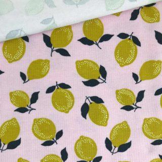 Single Jersey - Hellrosa mit Zitronen