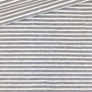 Single Jersey - Kuschelweich - Mittelgrau meliert mit 3 mm cremeweißen Streifen