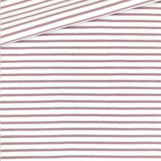 Single Jersey - Weiß mit 2 mm altrosa Streifen