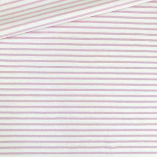 Single Jersey - Weiß mit 2 mm rosa Streifen