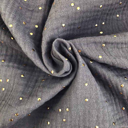 Musselin Goldpünktchen - Dusty Grey
