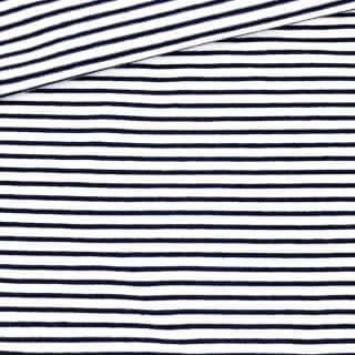 Single Jersey - Weiß mit 2 mm dunkelblauen Streifen