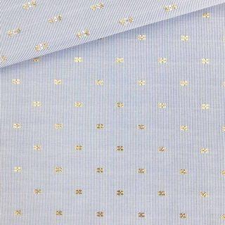 Baumwollgemisch Blau-Weiß mit Gold-Stickerei
