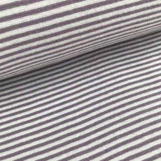 Bündchen - Dunkles Mauve/Hellgrau 2 mm gestreift