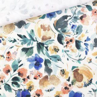 Feincord - Sandweiß Aquablumen