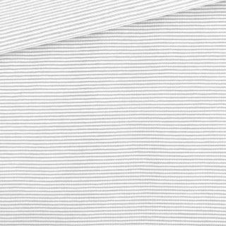 Single Jersey - Weiß mit kleinen hellgrauen Streifen