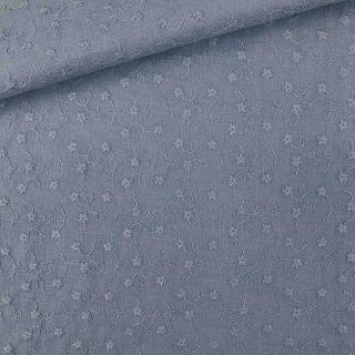Baumwolle - Blumenstickerei Helles Jeansblau