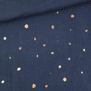 Musselin - Kupferpunkte Smoky Jeansblau