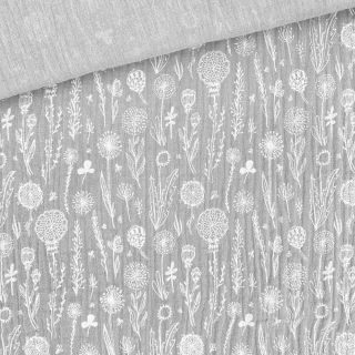 Musselin - Wildblumen Helles Silbergrau