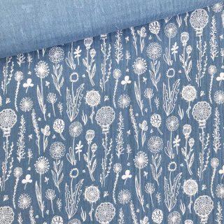 Musselin - Wildblumen Mittleres Jeansblau