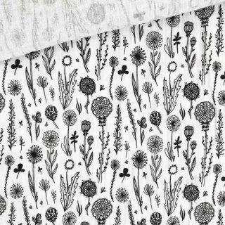 Musselin - Wildblumen Weiß