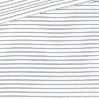 Single Jersey - Weiß mit 2 mm hellgrauen Streifen