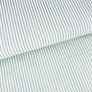 Baumwollstoff mit 3 mm Streifen Altmint/ weiß gestreift